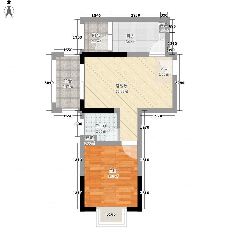 兴业福苑58.70㎡B户型1室2厅1卫1厨