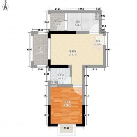 兴业福苑1室1厅1卫1厨59.00㎡户型图