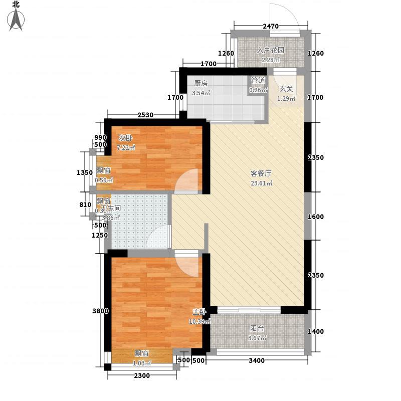 时代・香海彼岸2室1厅1卫1厨80.00㎡户型图