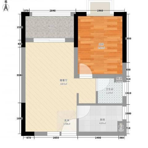 兴业福苑1室1厅1卫1厨55.00㎡户型图