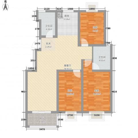 扬州印象花园3室1厅2卫0厨125.00㎡户型图