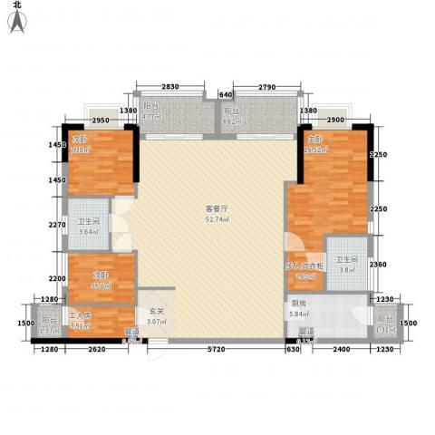 万华花园广弘叠水雨林3室1厅2卫1厨156.00㎡户型图