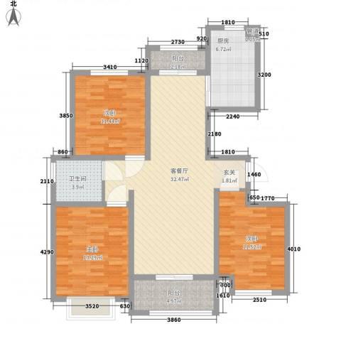 石棚名居3室1厅1卫1厨126.00㎡户型图