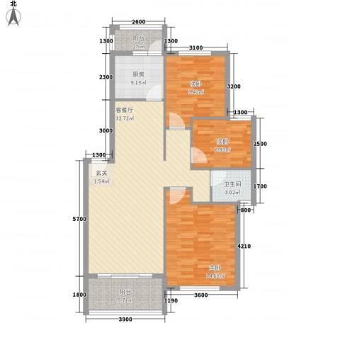 城市绿洲3室1厅1卫1厨112.00㎡户型图