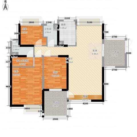 星光礼寓3室1厅2卫1厨99.04㎡户型图