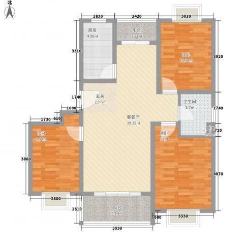 宜辉现代城3室1厅1卫1厨113.00㎡户型图