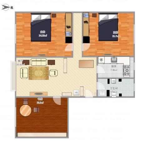 碧海云天3室1厅1卫1厨155.00㎡户型图