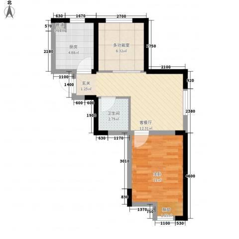 东安瑞凯国际1室1厅1卫1厨55.00㎡户型图