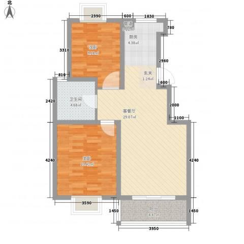 扬州印象花园2室1厅1卫0厨87.00㎡户型图