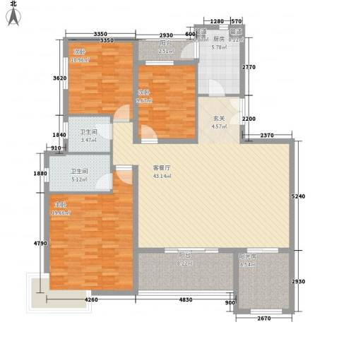 鑫苑名家3室1厅2卫1厨162.00㎡户型图