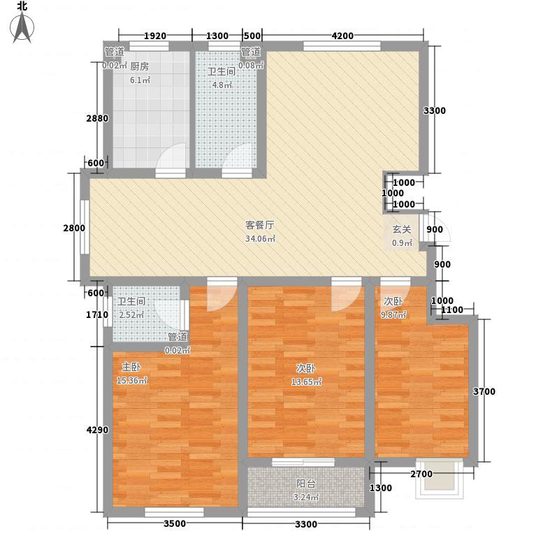 中动动漫基地3室1厅2卫1厨151.00㎡户型图