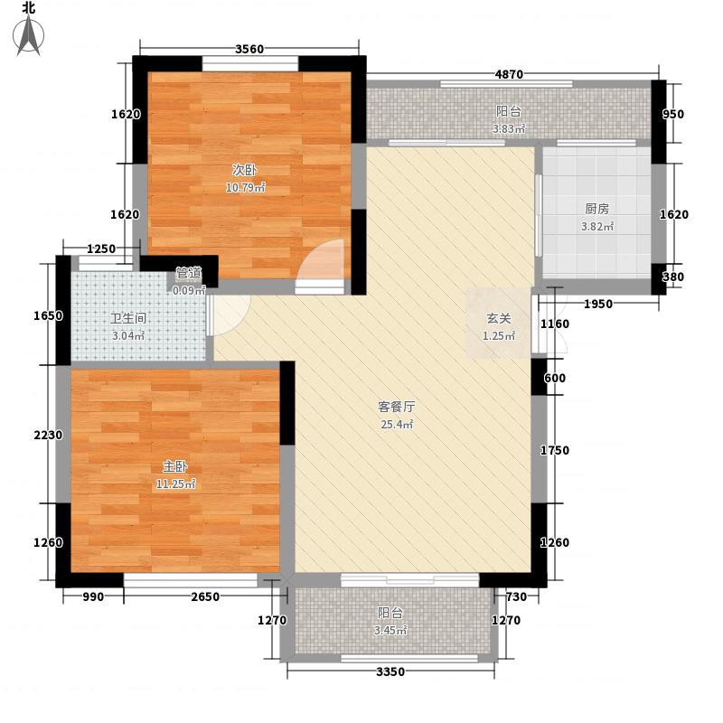 洞林湖新田城2室1厅1卫1厨88.00㎡户型图
