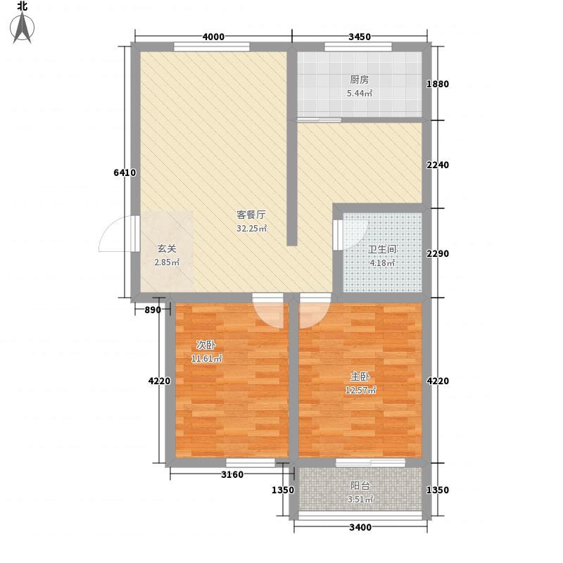 青城7.00㎡一期F户型2室2厅1卫1厨