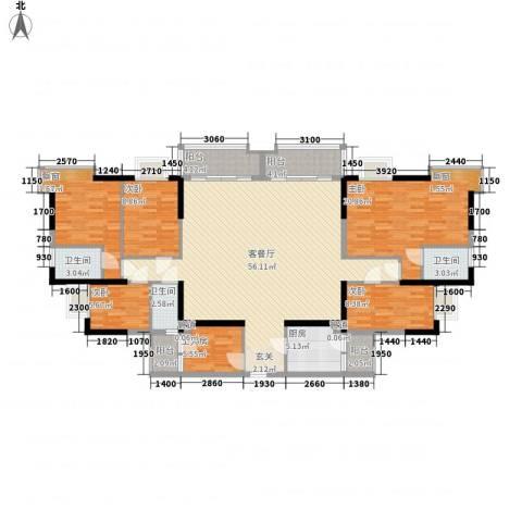 万华花园广弘叠水雨林5室1厅3卫1厨202.00㎡户型图