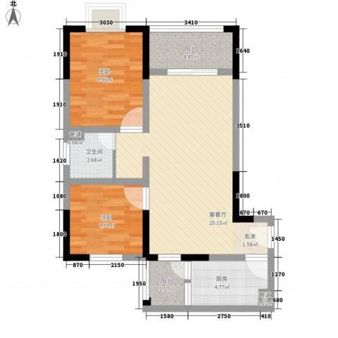 兴业福苑2室1厅1卫1厨84.00㎡户型图