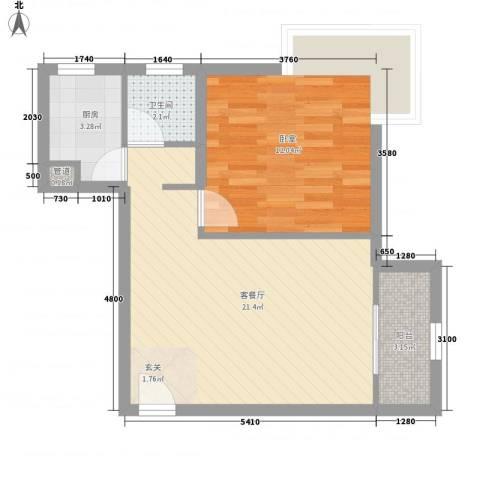 金沙丽晶苑二期1厅1卫1厨60.00㎡户型图