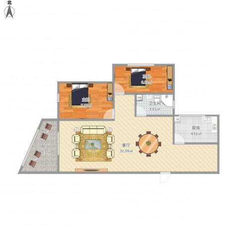 雍翠华府2室1厅1卫1厨79.00㎡户型图