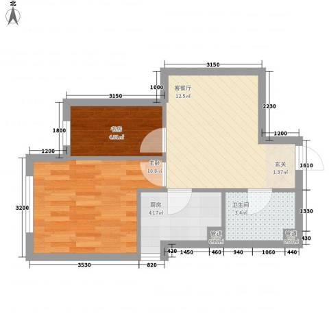千缘・新财富大厦2室1厅1卫1厨41.21㎡户型图