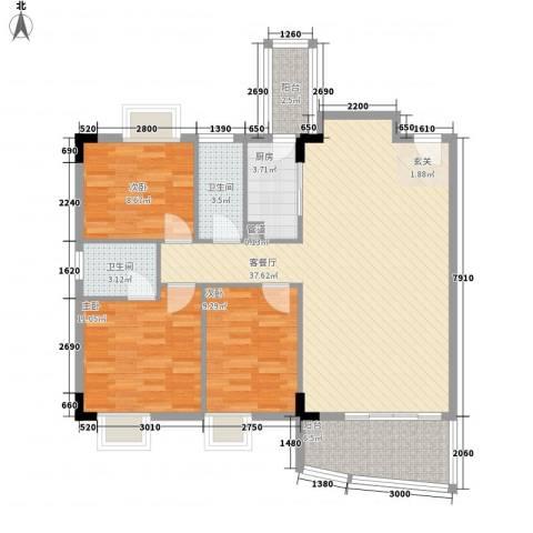 臻品云山3室1厅2卫1厨120.00㎡户型图