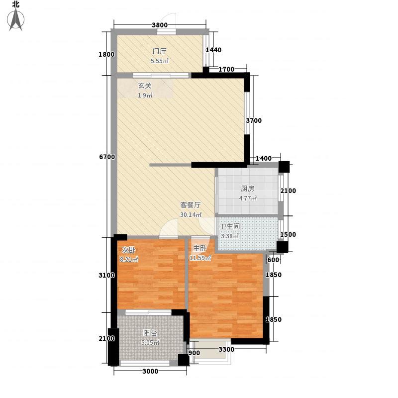 尚悦名庭83.60㎡3幢标准层03户型2室2厅1卫4厨