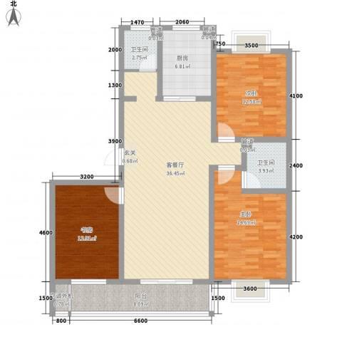滨海花园3室1厅2卫1厨128.00㎡户型图
