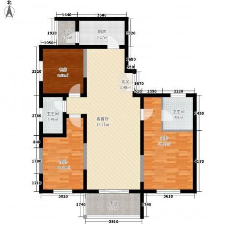 名城雅居3室1厅2卫1厨127.00㎡户型图