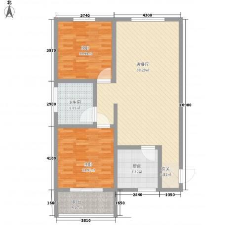 阅澜水岸2室1厅1卫1厨65.49㎡户型图
