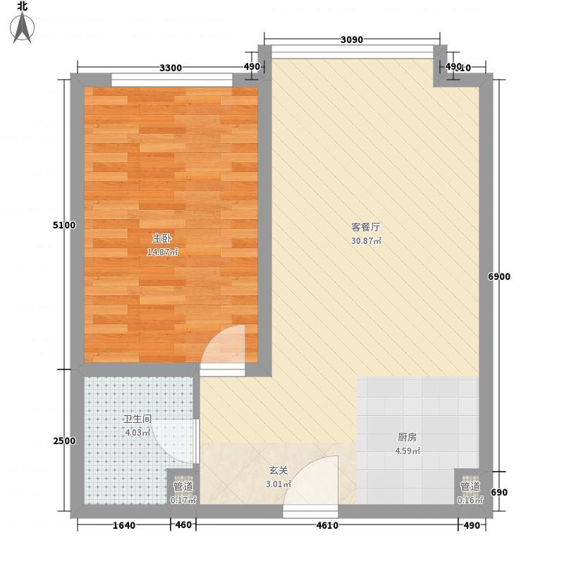 胜源滨河新城二期・泰茂天地76.00㎡C户型1室1厅1卫1厨