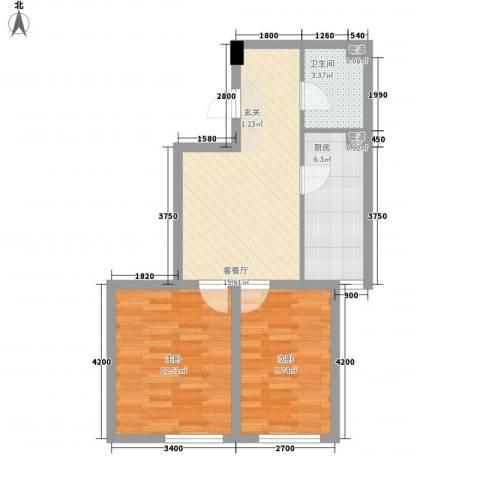 千缘・新财富大厦2室1厅1卫1厨55.13㎡户型图