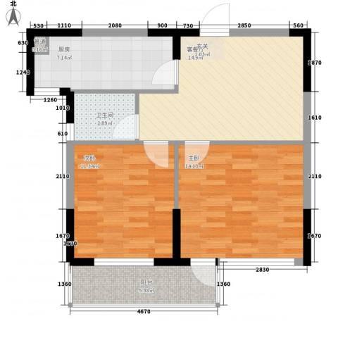 斯坦福院落2011百花深处2室1厅1卫1厨68.00㎡户型图