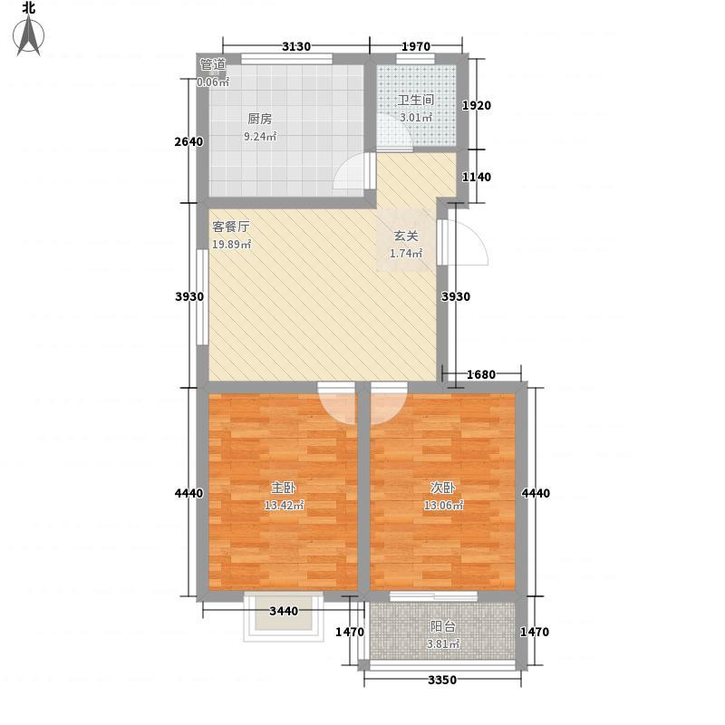 凤山晓筑2.75㎡一期多层7#/9#/11#楼B户型2室2厅1卫1厨