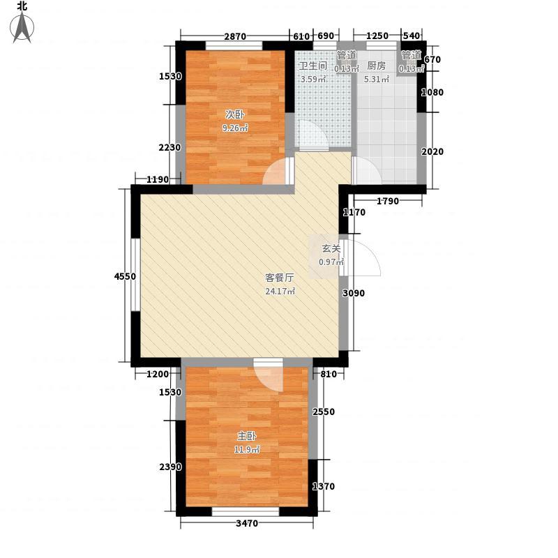 美利山精装8.36㎡22#楼A户型2室2厅1卫1厨
