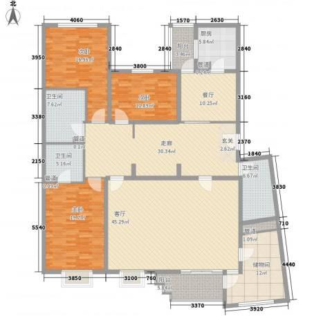 滨河小区3室2厅3卫1厨205.00㎡户型图