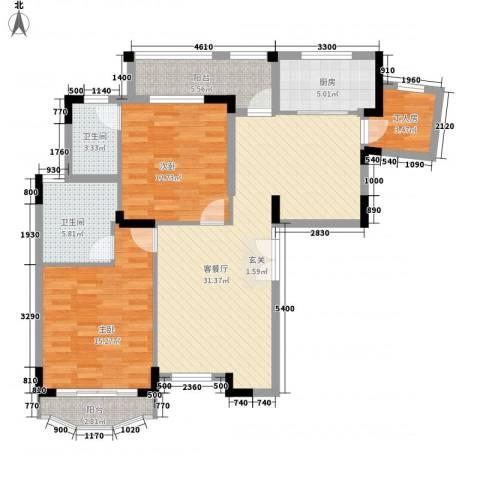 纯水岸花园2室1厅2卫1厨122.00㎡户型图