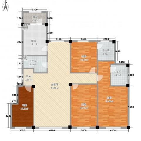 米兰D.C4室1厅3卫1厨206.00㎡户型图