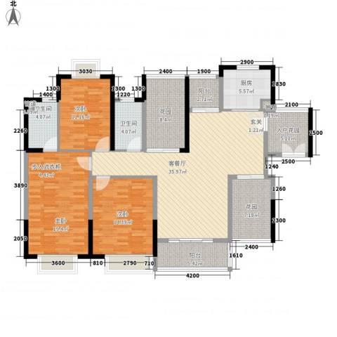 世纪城幸福公馆3室1厅2卫1厨177.00㎡户型图