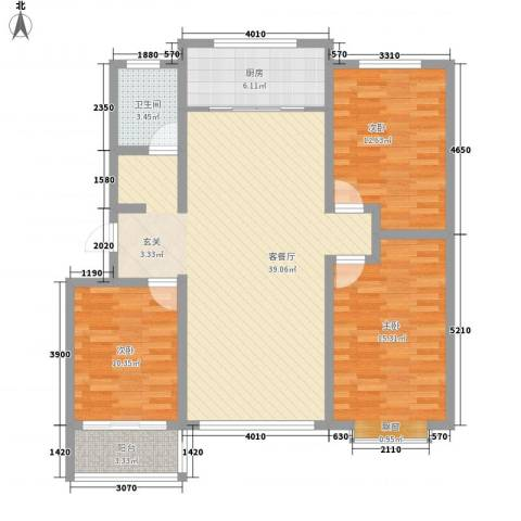 滨海花园3室1厅1卫1厨129.00㎡户型图