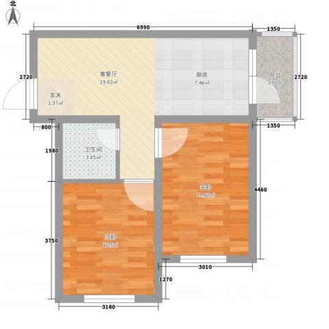 福泰名苑2室1厅1卫0厨47.29㎡户型图