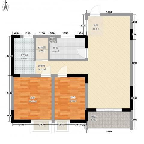 青云公寓2室1厅1卫1厨95.00㎡户型图