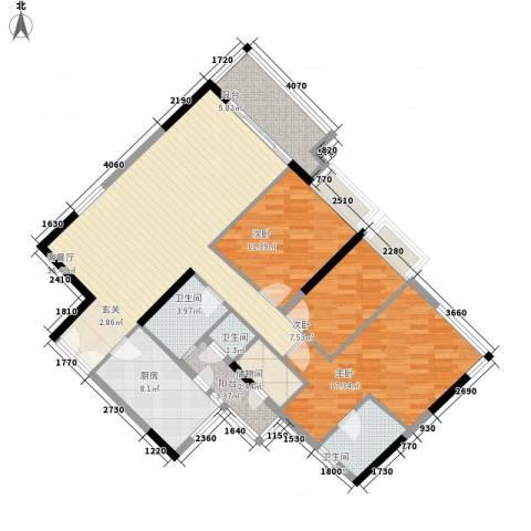 园景天下3室1厅3卫1厨143.00㎡户型图
