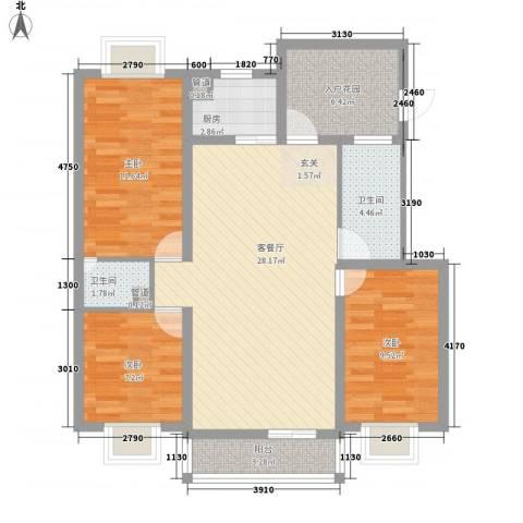 丽景碧雅3室1厅2卫1厨110.00㎡户型图