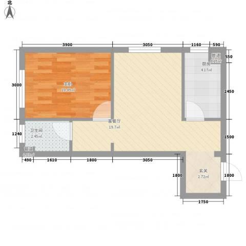 千缘・新财富大厦1室1厅1卫1厨42.30㎡户型图