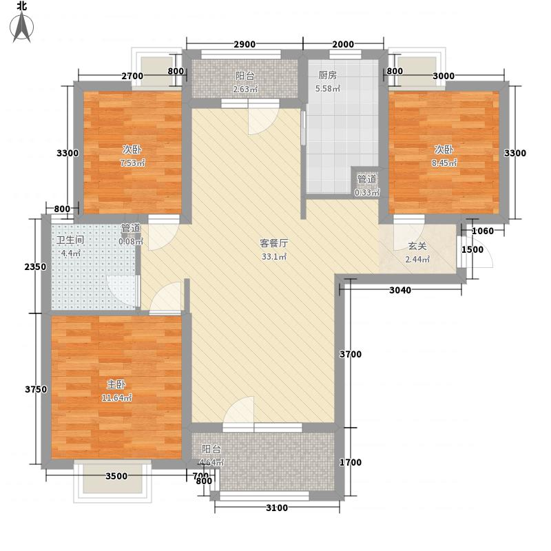 绿地香树花城3室1厅1卫1厨113.00㎡户型图