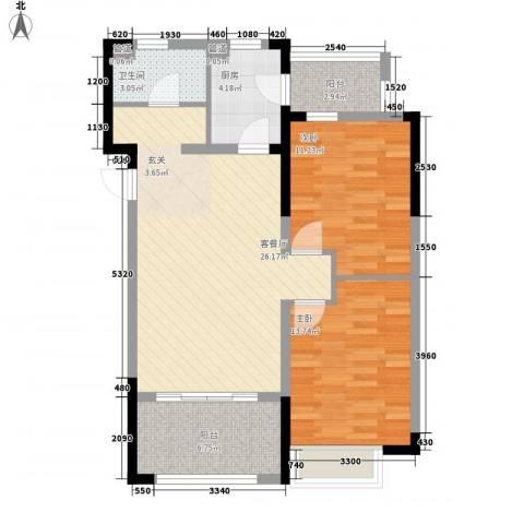 国信御湖公馆2室1厅1卫1厨96.00㎡户型图