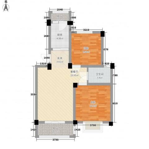 新城玉龙湾2室1厅1卫1厨84.00㎡户型图