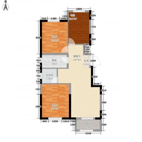 晋中万科・朗润园3室1厅1卫1厨76.28㎡户型图
