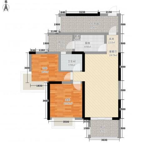 建曙高尔夫1号2室1厅1卫1厨104.00㎡户型图