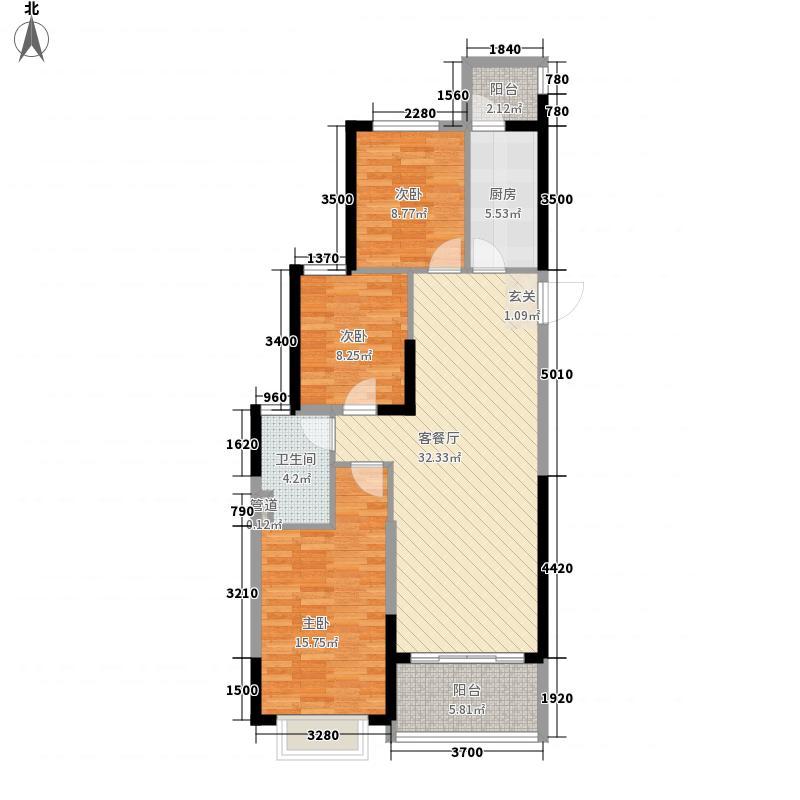 恒大城15.00㎡1号楼D户型3室2厅1卫1厨