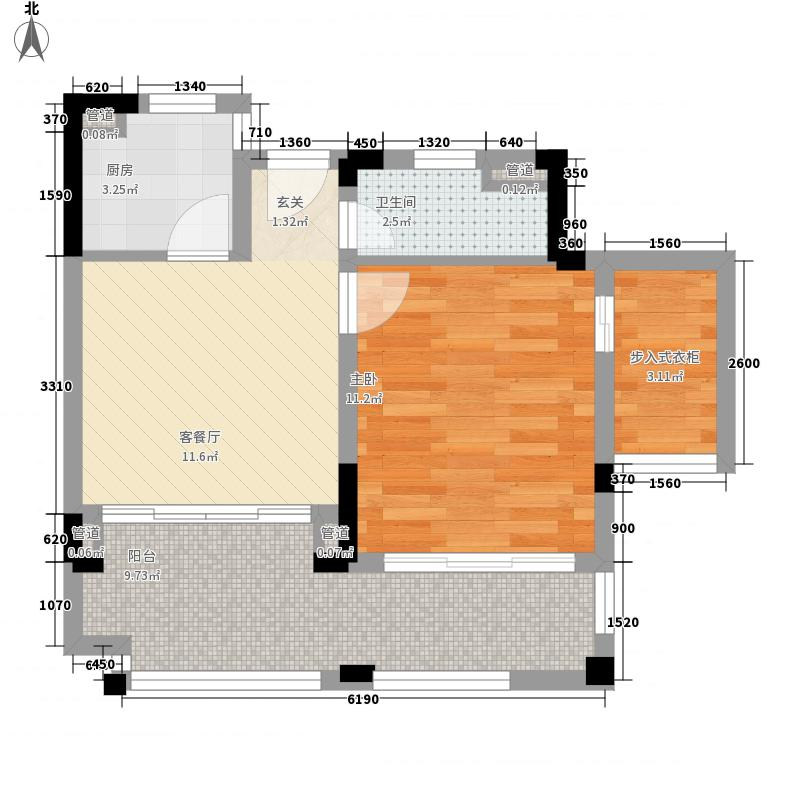 龙憩・园中园1室1厅1卫1厨63.00㎡户型图