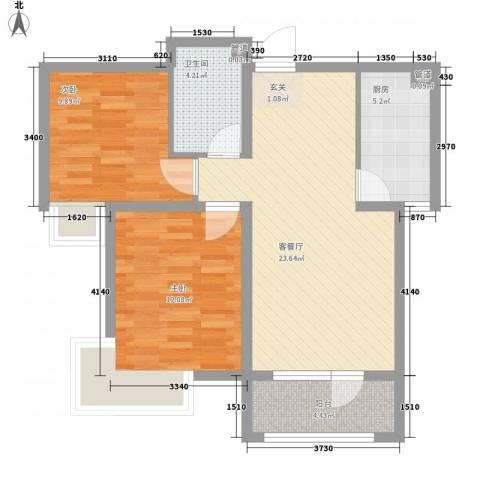 道台府小区2室1厅1卫1厨86.00㎡户型图